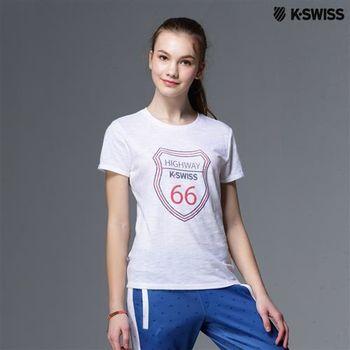K-Swiss Graphic Tee印花短袖T恤-女-白  S-XXL