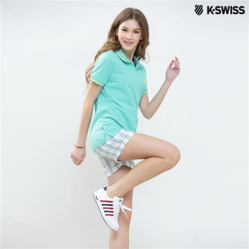 K-Swiss Plaid Shorts格紋休閒短褲-女-白  S-XXL