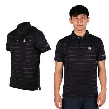 【FIRESTAR】男吸排短袖POLO衫 -短T 高爾夫球 立領 黑灰