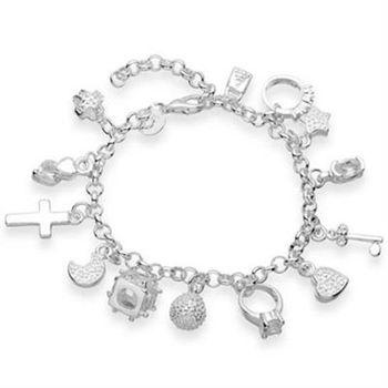 【米蘭精品】925純銀手鍊鑲鑽手環時尚創意十字架