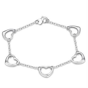 【米蘭精品】925純銀手鍊手環韓版時尚五顆愛心