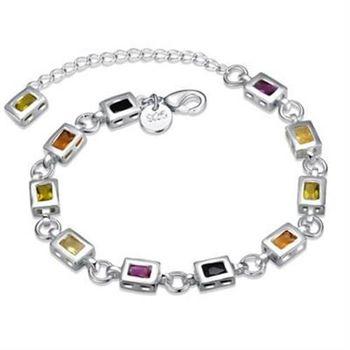 【米蘭精品】925純銀手鍊手環高貴氣質方形彩石