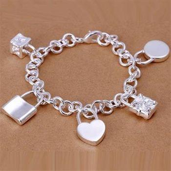【米蘭精品】925純銀手鍊手環精美愛情浪漫鎖鍊