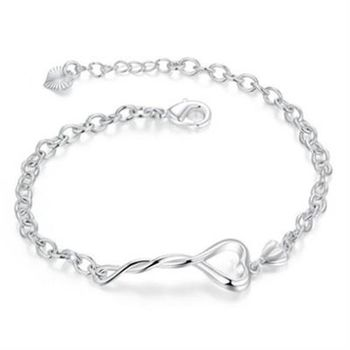【米蘭精品】925純銀手鍊手環精緻唯美編織愛心