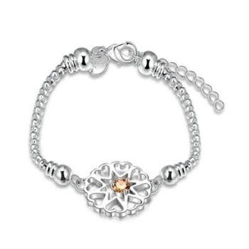 【米蘭精品】925純銀手鍊手環時尚鑲鑽愛心鏤空