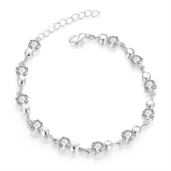 【米蘭精品】925純銀手鍊手環流行鑲鑽可愛精緻