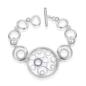 【米蘭精品】925純銀手鍊手環創意鑲鑽幾何圈圈