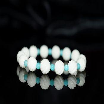 【喨喨飾品】白瑪瑙 S紋圓珠 / 天河石 手鍊 (N325)