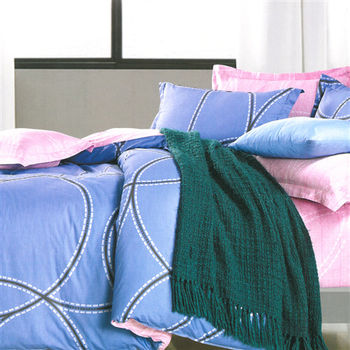 【美夢元素】愛的痕跡 藍 精梳棉 雙人四件式涼被床包組