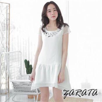 【ZARATA】圓領雪紡袖寶石A字魚尾網紗連身洋裝(白色)