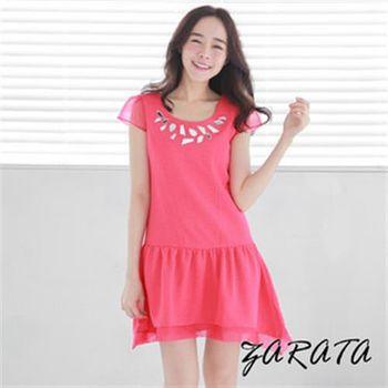 【ZARATA】圓領雪紡袖寶石A字魚尾網紗連身洋裝(玫紅)