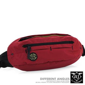 【AJ.亞介】 多格層 質感尼龍 隨身腰包 單肩包 紅色  (UE8036)