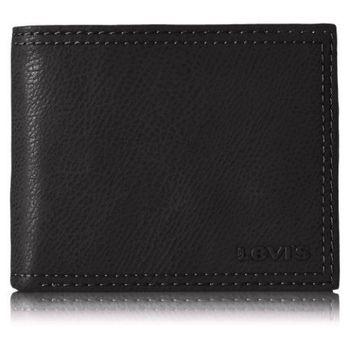 【Levi's】2016時尚李維斯雙縫線黑色雙折皮夾(預購)