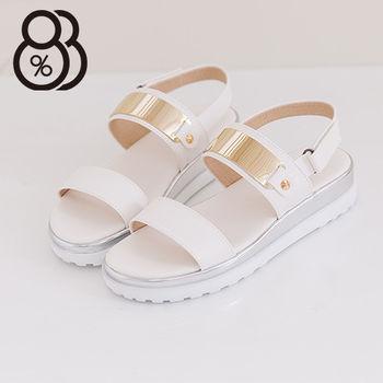 【88%】時尚金屬寬帶厚底楔型增高涼鞋 嚴選韓版流行款(白色)