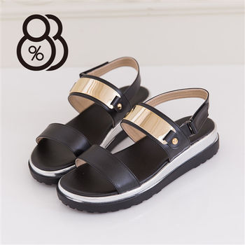 【88%】時尚金屬寬帶厚底楔型增高涼鞋 嚴選韓版流行款(黑色)