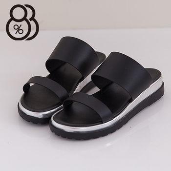 【88%】韓版流行搶眼雷射金屬 厚底增高寬帶 休閒實穿拖鞋(黑色)