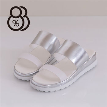 【88%】韓版流行搶眼雷射金屬 厚底增高寬帶 休閒實穿拖鞋(白色)