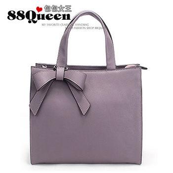 【88Queen❤包包女王】真皮★時尚蝴蝶吊飾牛皮多用包-紫色