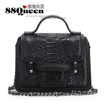 【88Queen❤包包女王】真皮★小香風鱷魚紋鏈帶包-黑色