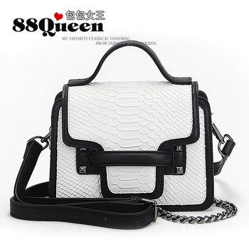 【88Queen❤包包女王】真皮★小香風鱷魚紋鏈帶包-白色