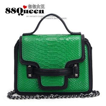【88Queen❤包包女王】真皮★小香風鱷魚紋鏈帶包-綠色