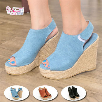 【Shoes Club】【054-A32-1】涼鞋.簡約個性麻繩草編包底楔型厚底涼鞋.3色 黑/棕/牛仔藍