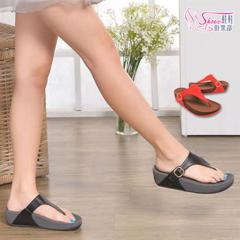 【Shoes Club】【189-CD0125】拖鞋.精選皮革 彈力柔軟 厚底人字夾腳拖鞋.2色 黑/橘