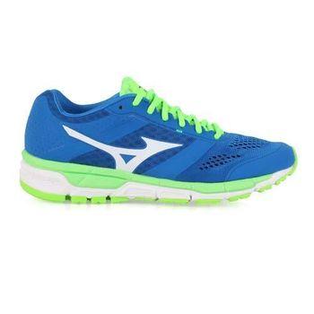 【MIZUNO】SYNCHRO MX 男慢跑鞋- 路跑 美津濃 健身 藍螢光綠白