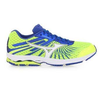 【MIZUNO】WAVE SAYONARA 4 男慢跑鞋- 路跑 美津濃 螢光黃藍