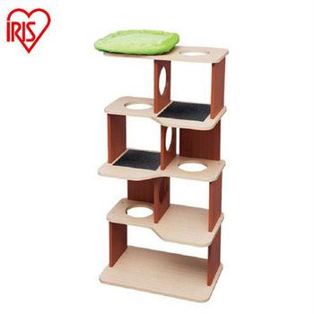 【IRIS】PICL防潑水木紋室內貓跳台-櫻桃紅(L)