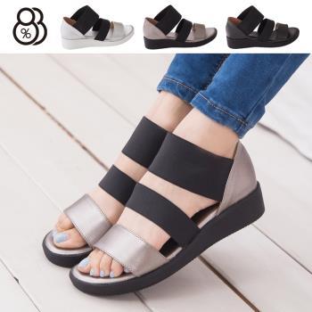 【88%】台灣製 韓版金屬極光感 一字伸縮帶質感造型 厚底羅馬涼鞋(錫色)