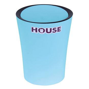 鬱金香圓型搖蓋垃圾桶-小藍色