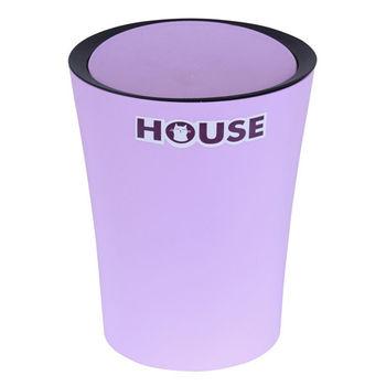 鬱金香圓型搖蓋垃圾桶-小紫色