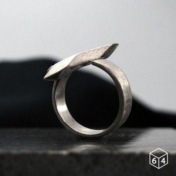 ART64 戒指 稜。角度J 925純銀戒指 大