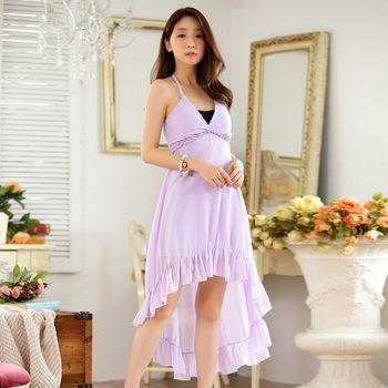 【KVOLL中大尺碼】紫色露背細肩綁脖雪紡連身裙