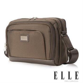 【ELLEHOMME】高雅品味休閒包可置物10吋筆電 搭配皮革休閒側背包(咖啡 EL83341-45)