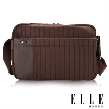 【ELLE HOMME】男士魅力精緻都會風格橫條紋 立體長方形休閒側背包(咖啡 EL83324A-45)