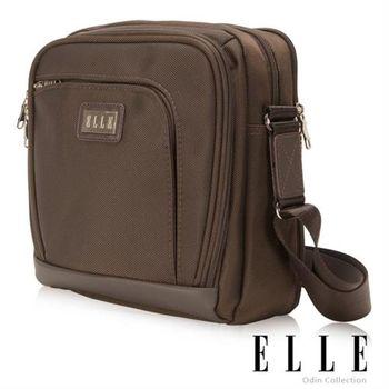 【ELLE HOMME】尊貴高雅品味 搭配皮革 肩背側背兩用包(咖啡EL83340-45)