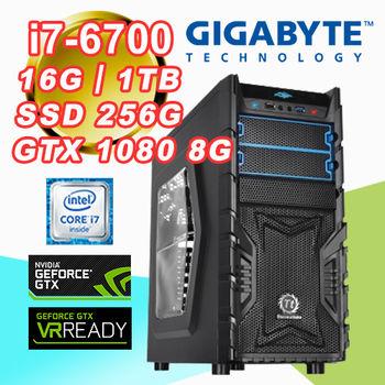 |技嘉H170平台|虛擬實境 Intel i7-6700四核 16G記憶體 1TB大容量 SSD 256G GTX1080 G1 GAMING 8G VR 電競桌上型電腦