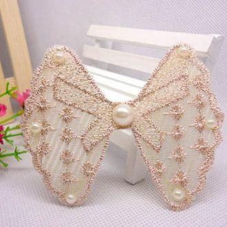 窩自在★鏤空蕾絲/珍珠/鑲鑽魔法瀏海貼片-珍珠蕾絲39