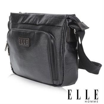 【ELLE HOMME】時尚閃耀金蔥 12吋扣層筆電 休閒側背包 頂級閃耀輕量布料(黑 EL83416-02)