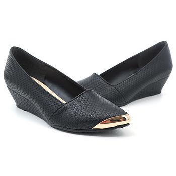 【 cher美鞋】金屬框蛇皮紋尖頭鞋♥黑色/白色♥5589-03