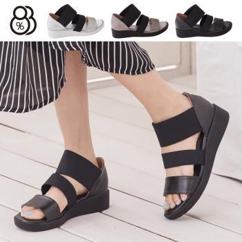 【88%】台灣製 韓版金屬極光感 一字伸縮帶質感造型 厚底羅馬涼鞋(黑色)