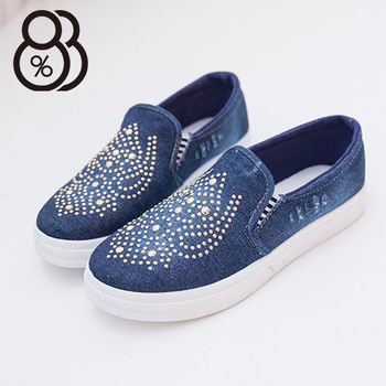 【88%】牛仔布刷色抓破中國風鉚釘編排 低筒帆布鞋 懶人鞋 個性穿搭必備款(深藍)