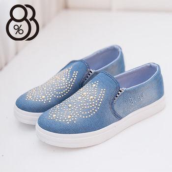 【88%】牛仔布刷色抓破中國風鉚釘編排 低筒帆布鞋 懶人鞋 個性穿搭必備款(淺藍)