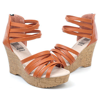 【 cher美鞋】編織實搭微楔型羅馬涼鞋♥白色/棕色♥B669-03