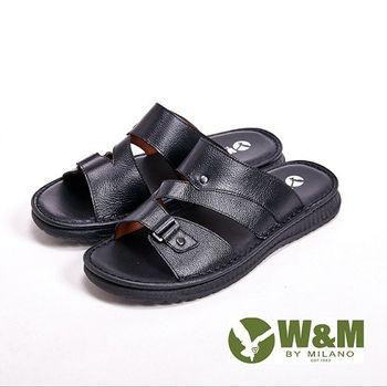 W&M厚底軟墊設計涼拖鞋男鞋-黑(另有棕)