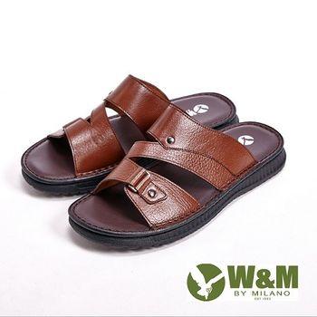 W&M厚底軟墊設計涼拖鞋男鞋-棕(另有黑)