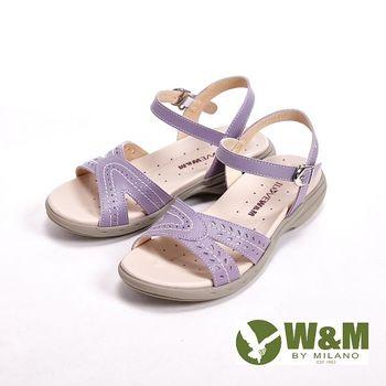 W&M 馬卡龍色雕花涼鞋 女鞋-紫(另有桃)