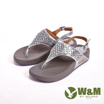 W&M 簍空雕花夾腳涼鞋 女鞋-銀(另有深藍)